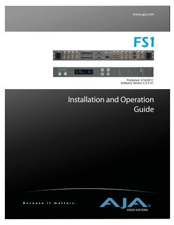 AJA FS1 Installation and  Operation Guide