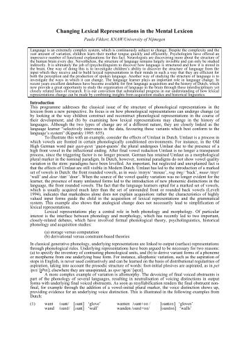 Changing Lexical Representations in the Mental ... - Paula Fikkert