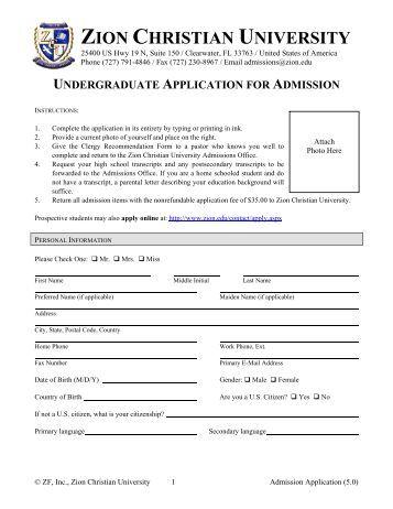 Admission Application - Zion Christian University