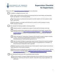 Supervision Checklist for Supervisors - School of Graduate Studies