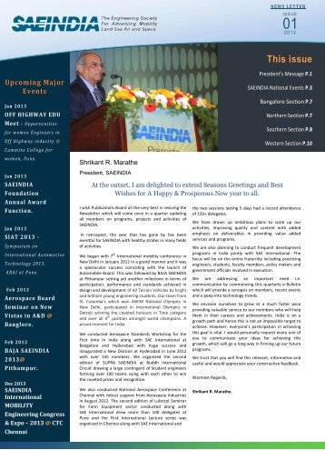 SAEINDIA news letter for 2013, issue-01