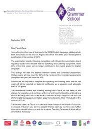 September 2013 Dear Parent/Carer, I am writing to inform you of ...