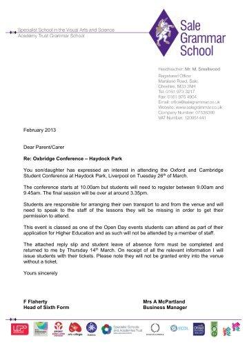 Oxbridge Conference - Haydock Park - Sale Grammar School