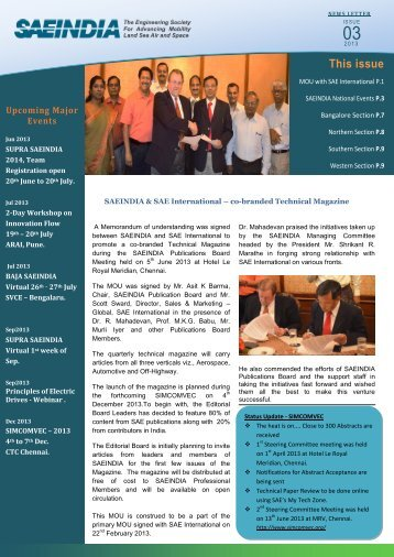 SAEINDIA news letter for 2013, issue-03