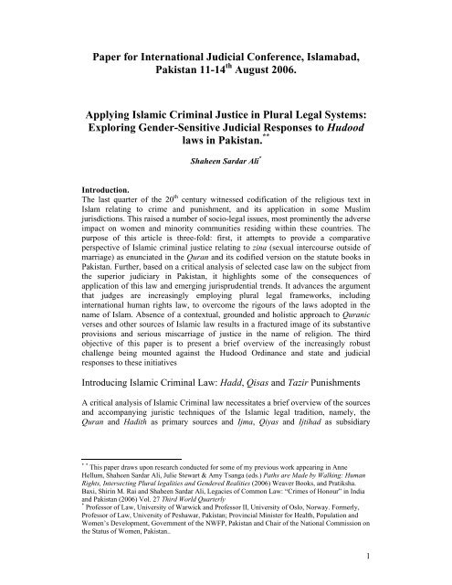 Prof  Shaheen Sardar Ali - Supreme Court of Pakistan