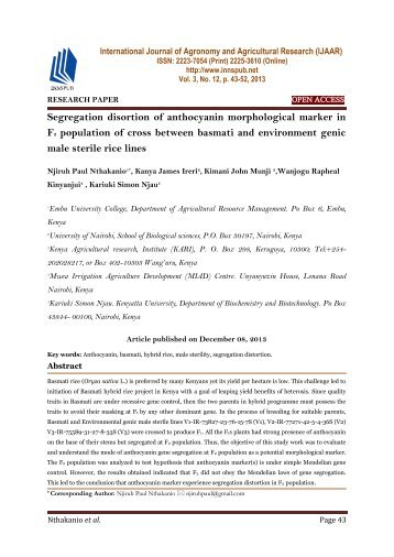 Segregation disortion of anthocyanin morphological marker in F2 population of cross between basmati and environment genic male sterile rice lines