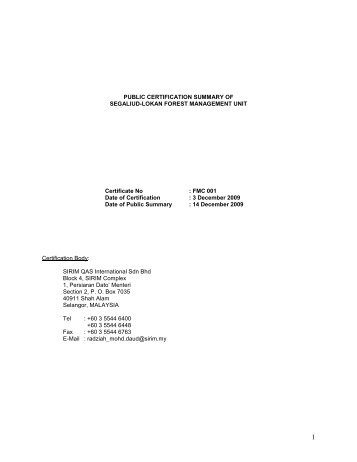 public summary of audit of - Malaysian Timber Certification Council
