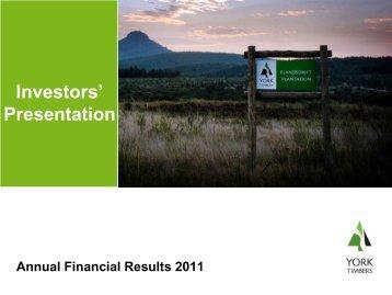 Investors' Presentation - York Timbers