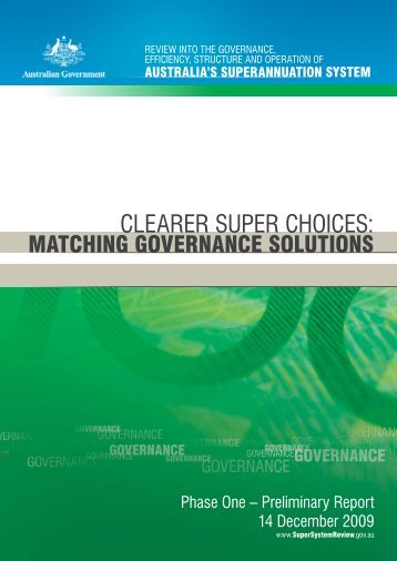 Clearer super choices: matching governance solutions