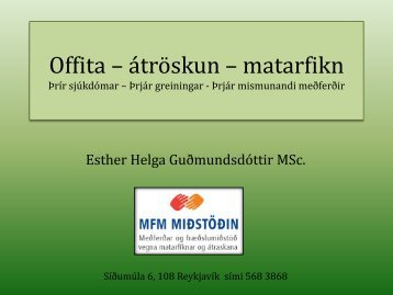 Offita – átröskun – matarfikn Þrír sjúkdómar – Þrjár batameðferðir