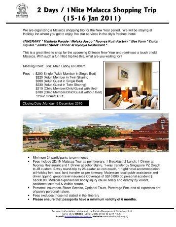 2 Days / 1Nite Malacca Shopping Trip - Singapore Swimming Club