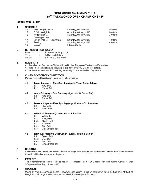 Download the details - Singapore Swimming Club