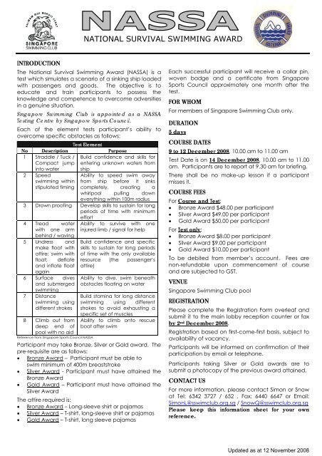 registration form - Singapore Swimming Club