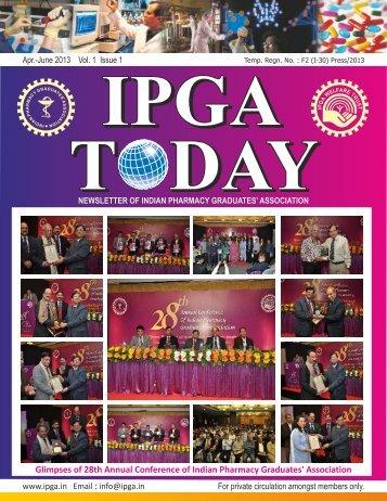 ipga today - Indian Pharmacy Graduates' Association