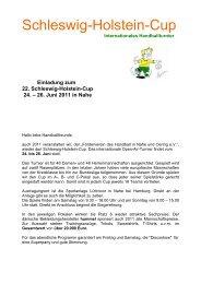 Einladung zum 22. Schleswig-Holstein-Cup 24. – 26. Juni 2011 in ...