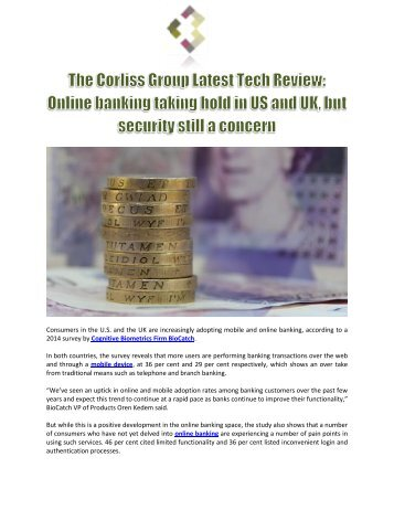 The Corliss Group Latest Tech Review: Online banking taking hold in US and UK, but security still a concern