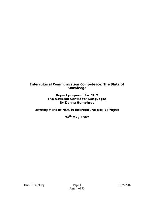 Intercultural Communication Competence: The State of Knowledge