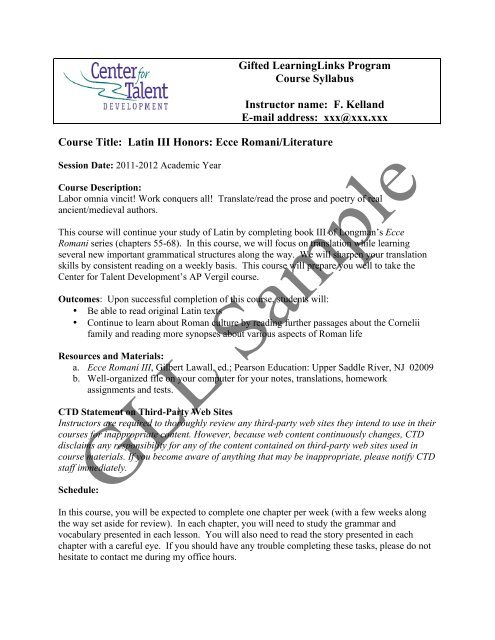 Latin III Ecce Syllabus Center For Talent Development