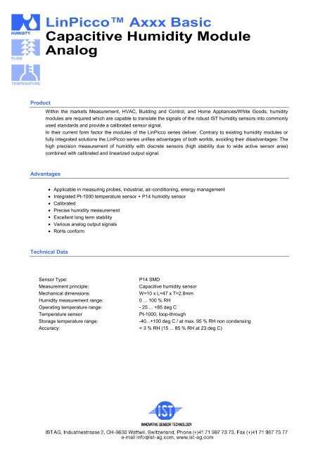 "LinPiccoâ""¢ Axxx Basic Capacitive Humidity Module Analog - IST AG"