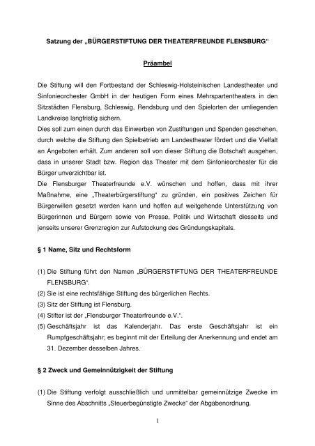 """1 Satzung der """"BÜRGERSTIFTUNG DER THEATERFREUNDE ..."""