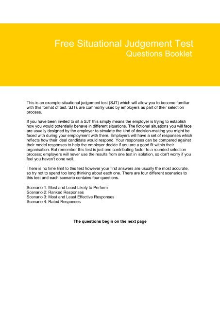 Situational Judgement Questions PDF - Aptitude Test