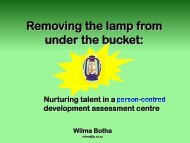 Removing the lamp from under the bucket: Nurturing talent ... - ACSG