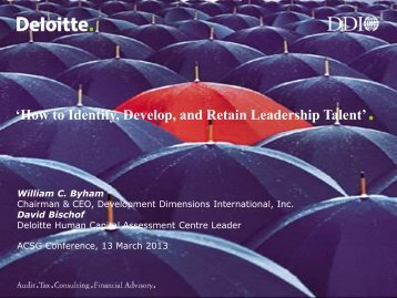 'How to Identify, Develop, and Retain Leadership Talent'. - ACSG