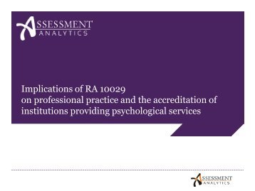 Practice of Psychology - Assessment Analytics