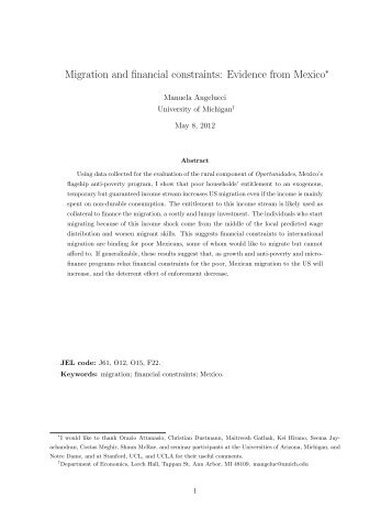 Migration and financial constraints: Evidence from Mexico - CReAM