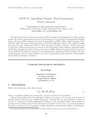 Algorithmic Number Theory Symposium Poster Abstracts - SIGSAM
