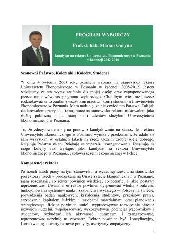 Kadencja 2012-2016 - program wyborczy - prof. dr hab. Marian ...