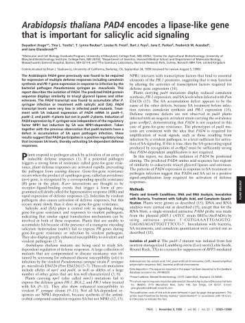 Arabidopsis thaliana PAD4 encodes a lipase-like gene that is ...
