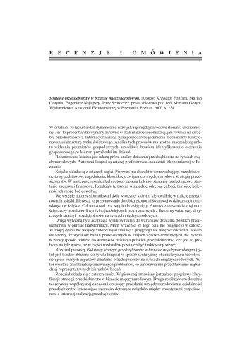 Rec. J. Bilski: Strategie przedsiębiorstw w biznesie ...