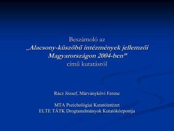 Alacsonyküszöbű intézmények jellemzői Magyarországon 2004-ben