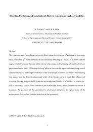 Disorder, Clustering and Localisation Effects in Amorphous Carbon ...