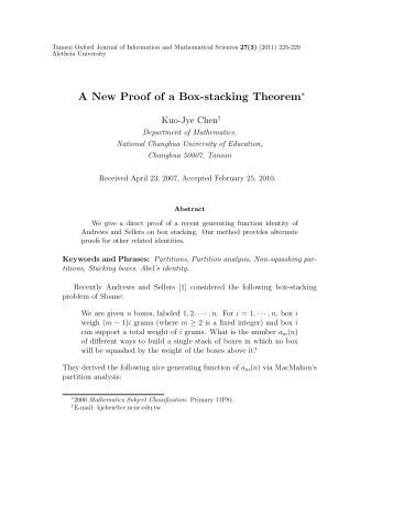A New Proof of a Box-stacking Theorem