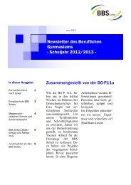 Newsletter des Beruflichen Gymnasiums - Schuljahr ... - BBS Soltau