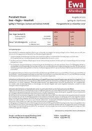 Preisblatt Strom Ewa – Regio – Haushalt
