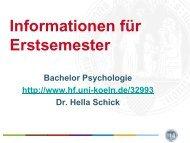Das Fach Psychologie - Humanwissenschaftliche Fakultät