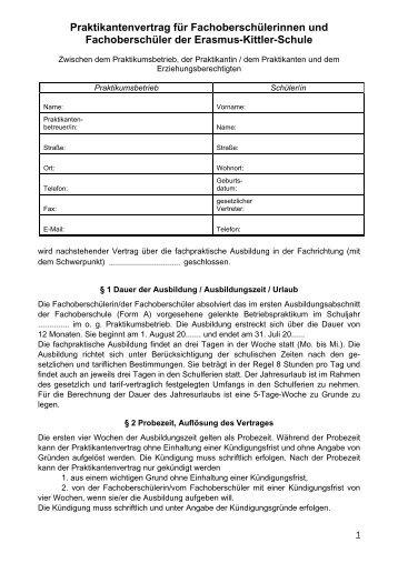 Vordruck Praktikumsvertrag Otto Bennemann Schule Braunschweig