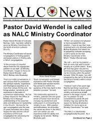 Pastor David Wendel is called as NALC Ministry Coordinator