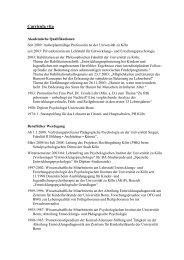 Curricula vita - Universität zu Köln