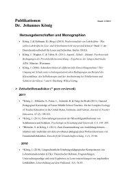 Publikationen Dr. Johannes König - Universität zu Köln