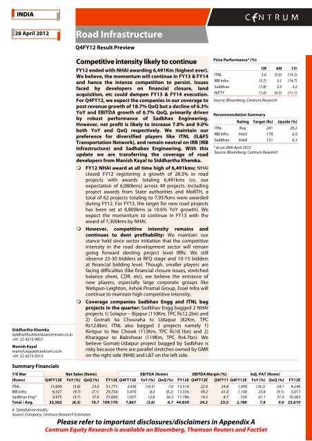 Road Infra - Q4FY12 Result Preview - Centrum ... - all-mail-archive