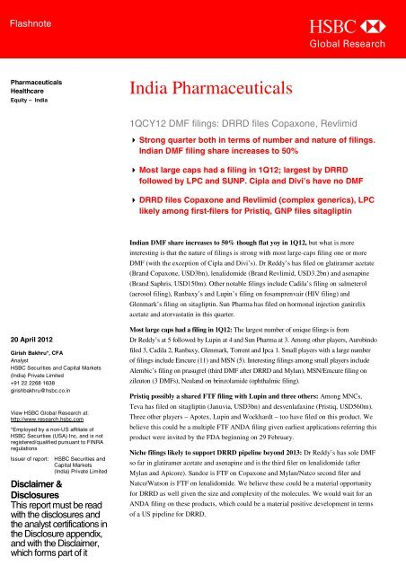 India Pharmaceuticals-1QCY12 DMF filings     - all-mail-archive