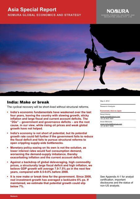 Nomura- India- Make or break- The cyclical ... - all-mail-archive