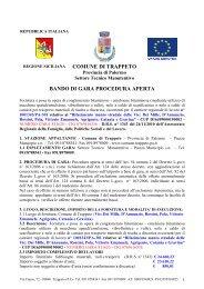 COMUNE DI TRAPPETO BANDO DI GARA PROCEDURA APERTA