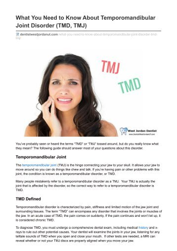 What You Need to Know About Temporomandibular Joint Disorder (TMD, TMJ)