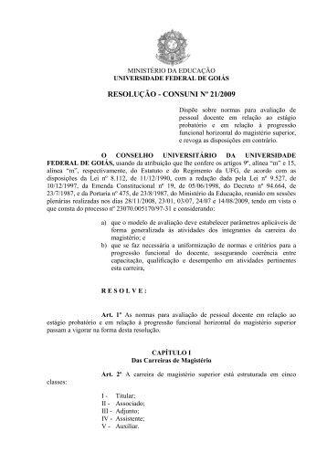 Resolução CONSUNI nº 21/2009 - CAVI - UFG