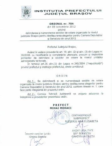 Ordinul nr. 704/2012, privind delimitarea si numerotarea sectiilor de ...